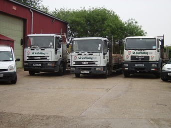 Three Lorries and Two Vans